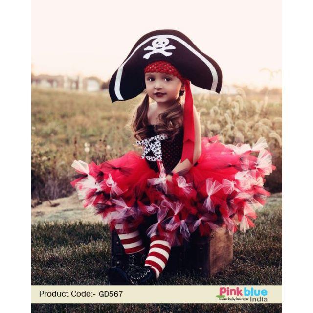 Pirate Princess Tutu Costume – Red and black pirate tutu, Baby Girl Birthday Party Dress