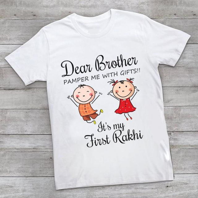 Lovely Rakhi Gift Idea, Brother and Sister T shirts for Kids