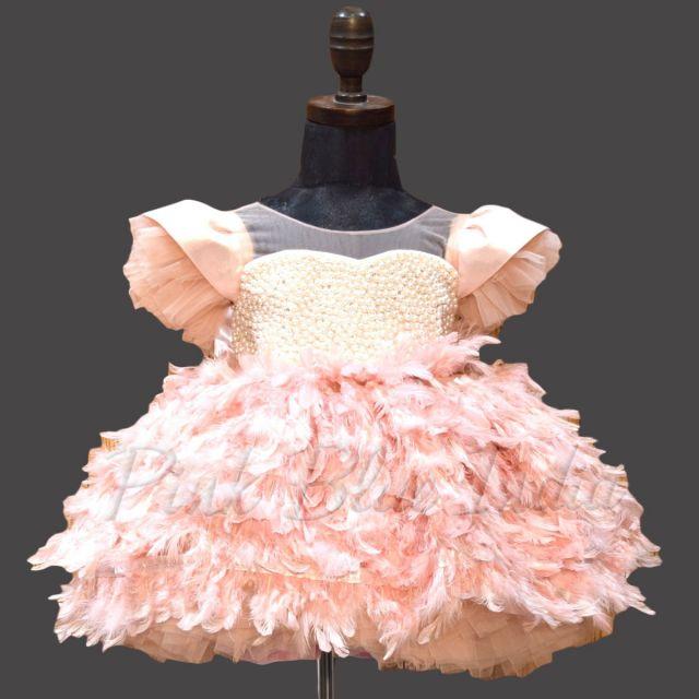 Baby Girls Peach Party Feather Dress, Birthday Dress