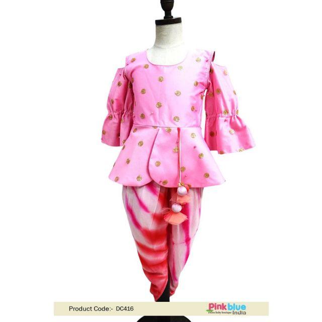 girl child indo western peplum tops Pink Color Ethnic Kids Wear Dress