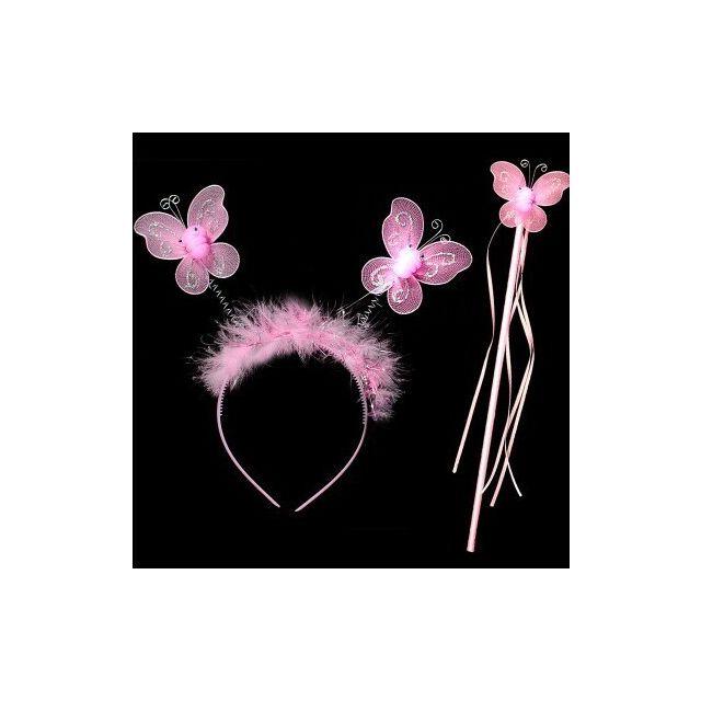 Pink Butterfly Fairy Princess Birthday Wand and Headband Baby Kids