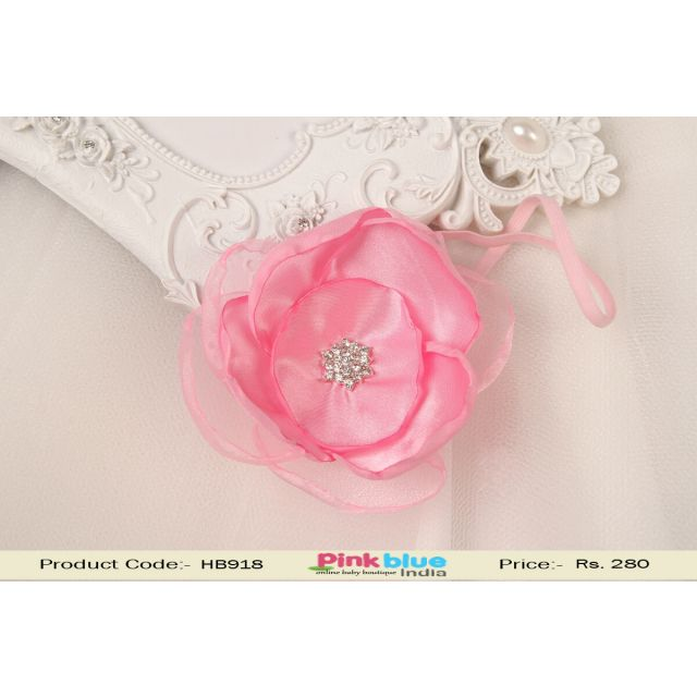 Baby Pink Sleek Flower Hair Band for Girls