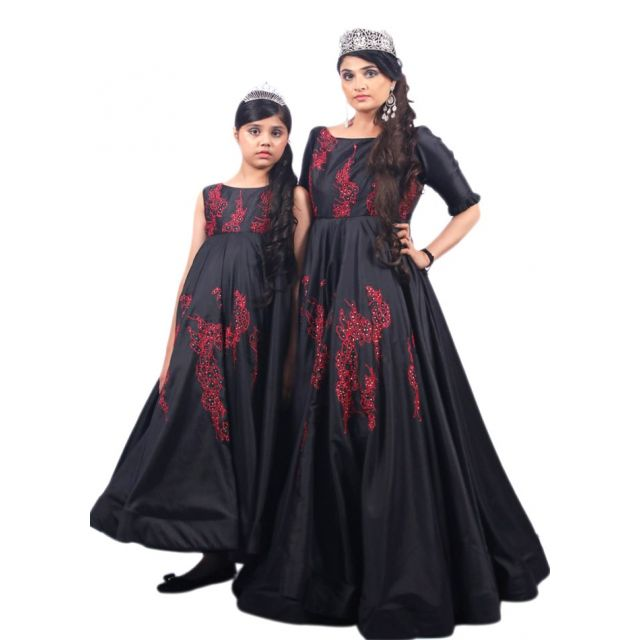 Party Wear Mother and Daughter Matching Dress, Mom and daughter gown