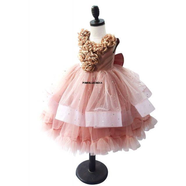 Beige Flower Girl Dress Online - Beige Party Wear Gown for Girls, Birthday Dress