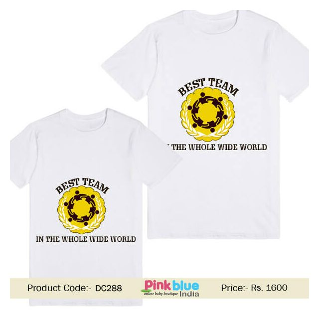 Kids Custom T-shirt Message Print Best Team in The Whole Wide World