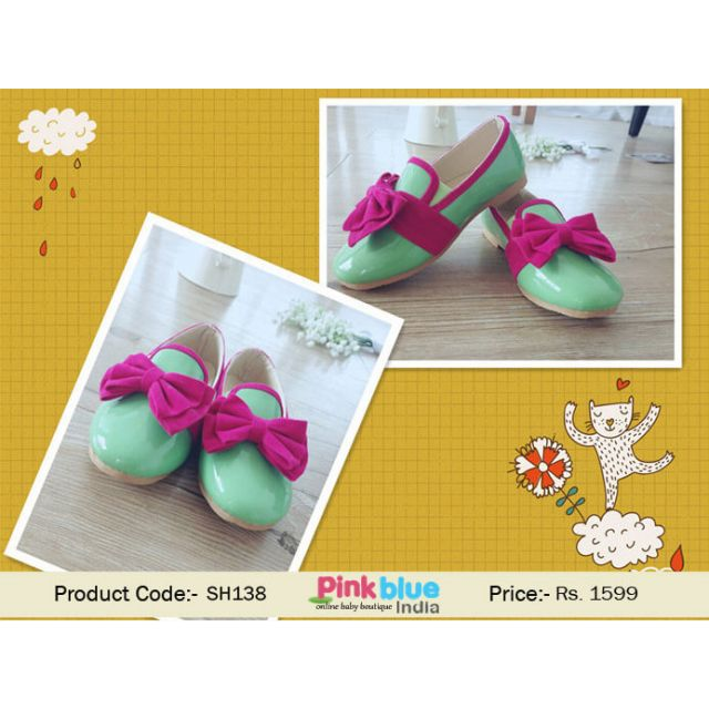green baby formal shoes