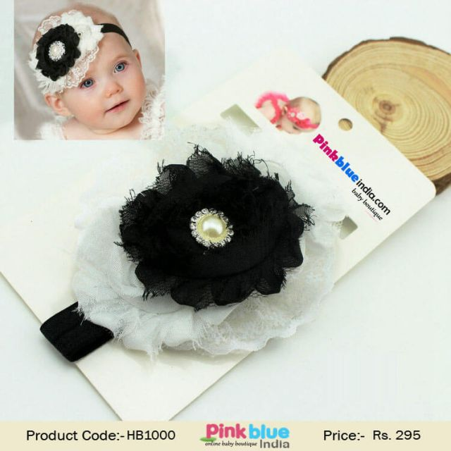 Black and White Flower Hair Accessory for Princess