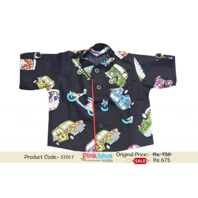 Baby Boy Cotton Printed Casual Shirt Black Car Print