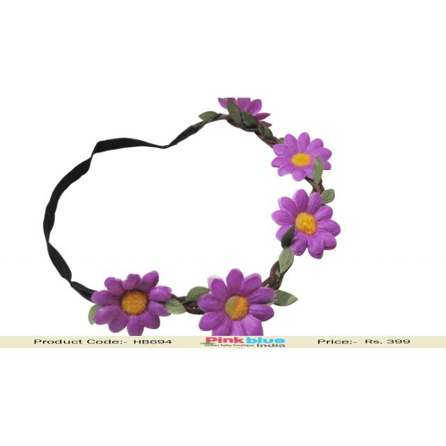 Black Baby Girl Headband with Purple Flowers