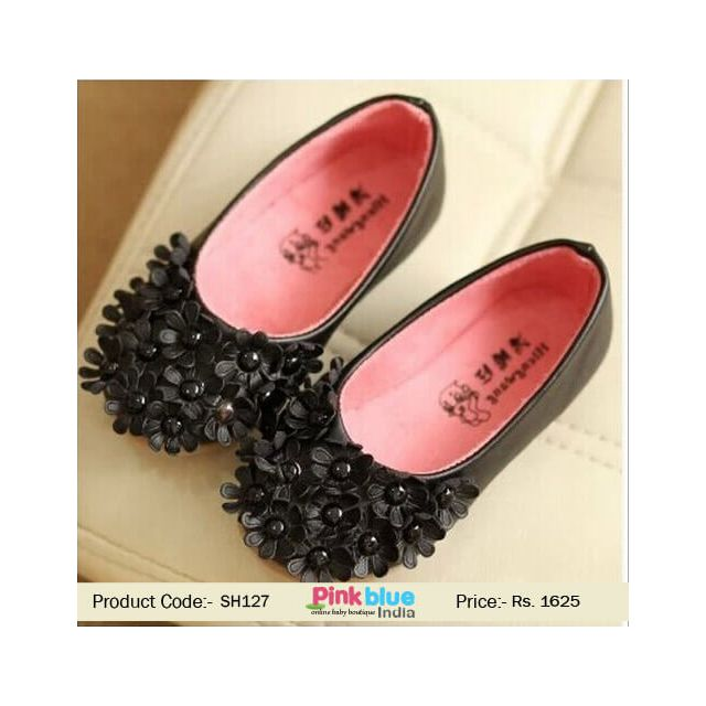 black floral baby shoes