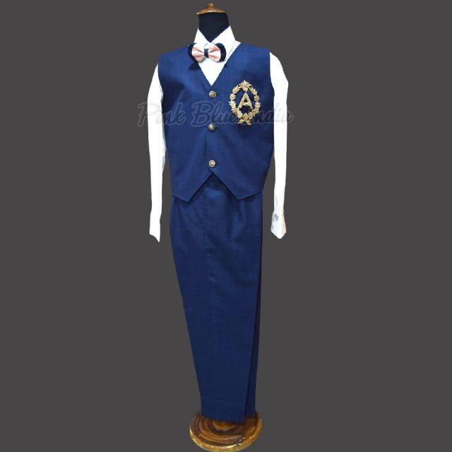 3 Piece Boy Party Suit Online, Blue Party Wear Outfit