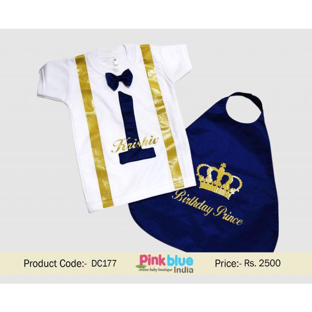 Buy Royal Little Prince 1st Birthday Cake Smash Outfit India | Birthday Boy T-shirt & Cape Set