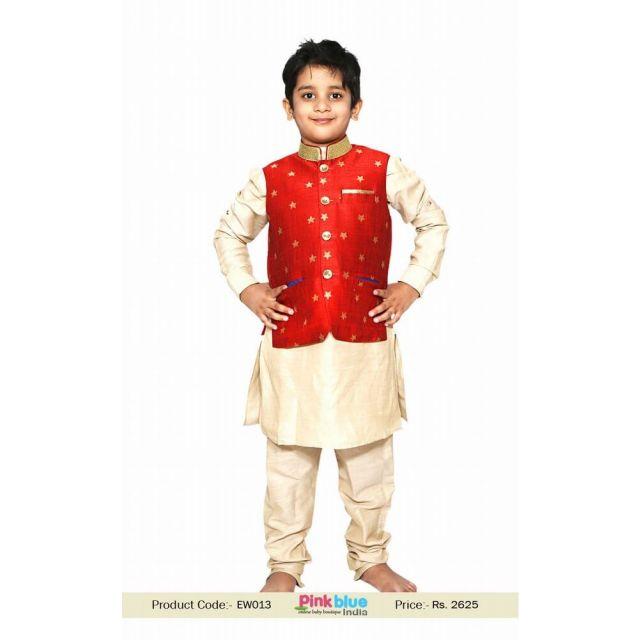 Golden Baby Boy Kurta Pajama Red nehru jacket