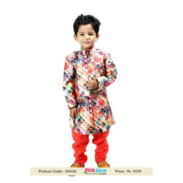 Indian Bollywood Readymade Kids Style Sherwani Dress and Brijesh Pant
