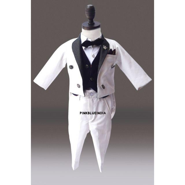 Boys Tailcoat Suit 5 piece Set- Royal Tailcoat Suit for Babies, Kids Wedding Outfit