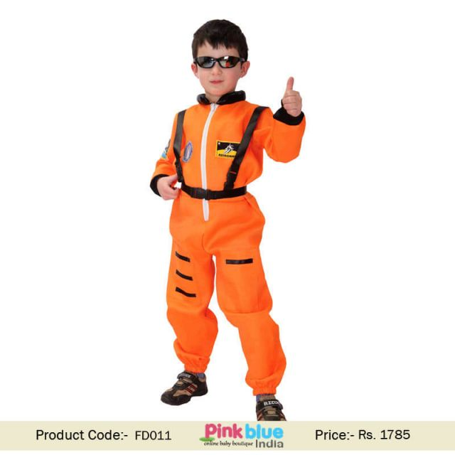 Children Spaceman Fancy Dress Costume, Boys Orange Astronaut Teamed Party Outfit