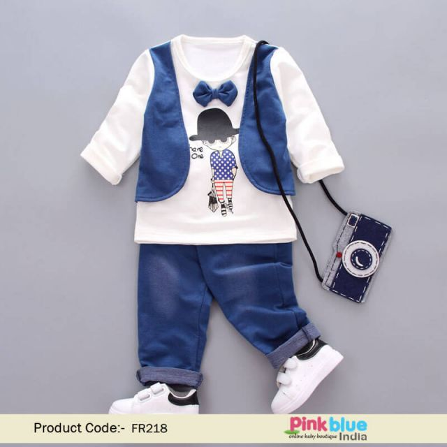 Baby Boys 2 Pcs Party Outfit With Smart Bow Tie and Waistcoat Appliqued T-shirt and Trousers