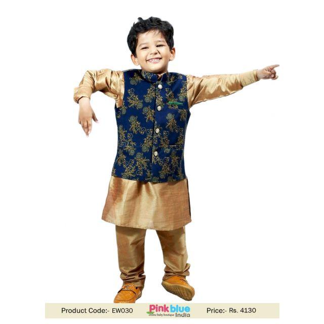Toddler Boys Velvet Nehru Jacket and Wedding Kurta Pajama Set India