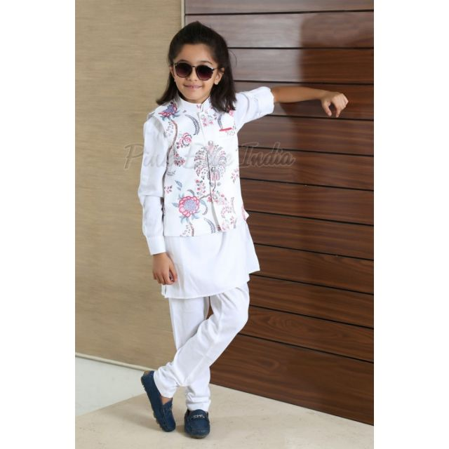 Kids White Kurta Pajama -  floral print boys Nehru Jacket, Baby Wedding Wear