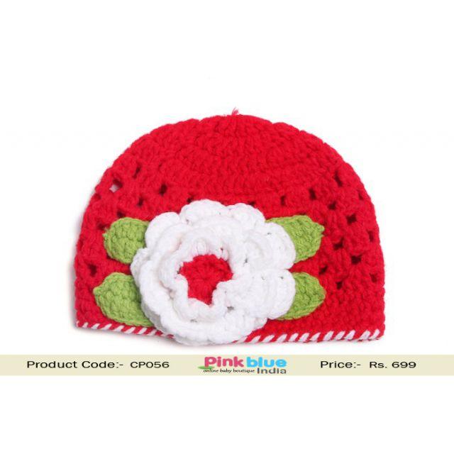 red baby flower hat