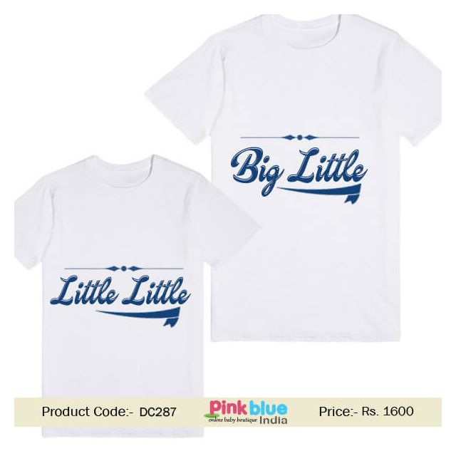 Big Little Personalized Little Brother and Sister T-Shirt Buy Online India