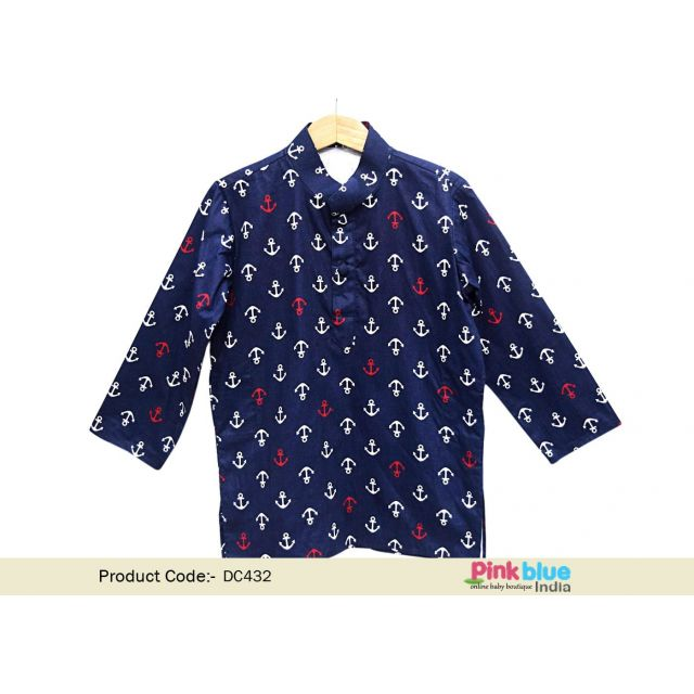 Buy Children Party Wear Kurta with Cute Anchor Print