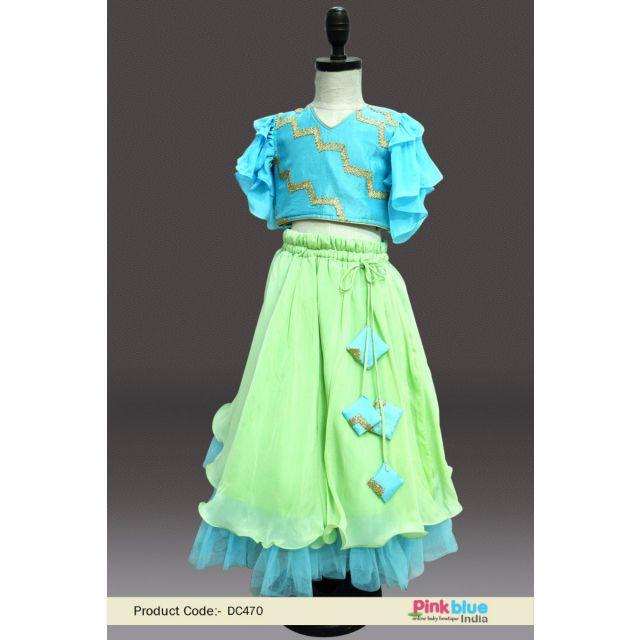 baby girl crop top lehenga dress – Kids Wedding Lehenga Online - baby designer Party lehenga