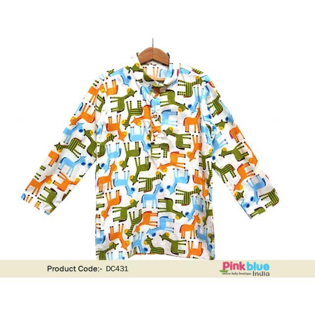 Boys Kurtas Online: Buy Designer Giraffe Print Kids Kurta