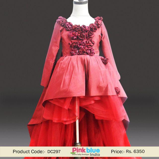 Luxury Maroon Kids Indian Wedding Dress   Flower Girl High Low Birthday Dress