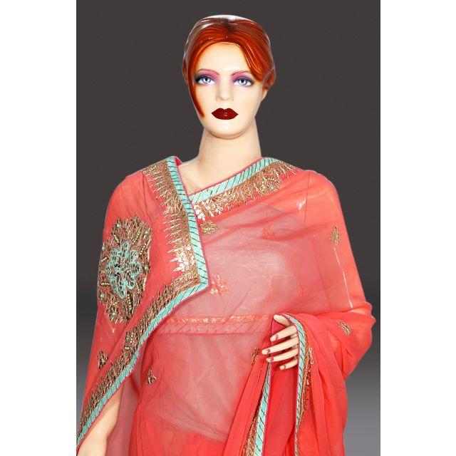 Pink color Designer Wedding Party Wear Georgette Saree