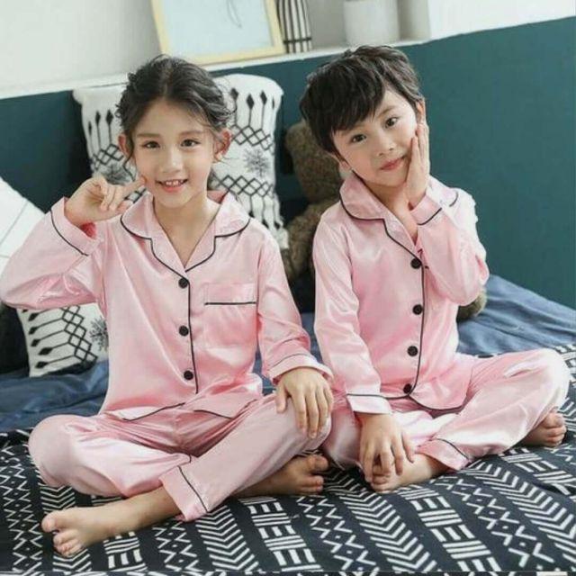 Twins Baby Girls Boys Pyjama Set, Pink Satin Night Suit, Nightwear
