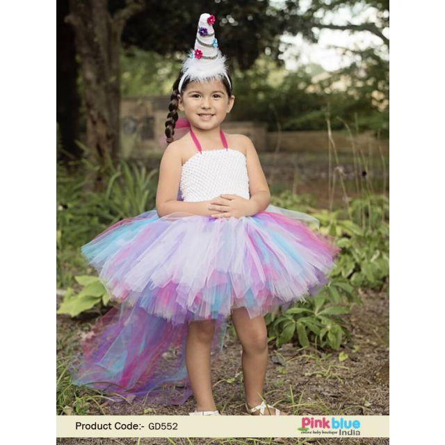 Toddler Rainbow Unicorn Tutu Dress, Baby Girl Birthday, Unicorn Party Tutu Costume