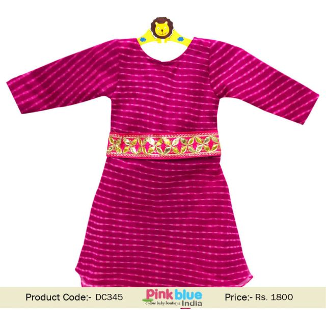 Rajasthani Designer Lehariya Baby Girl Dress - Kids Party Wear from Jaipur
