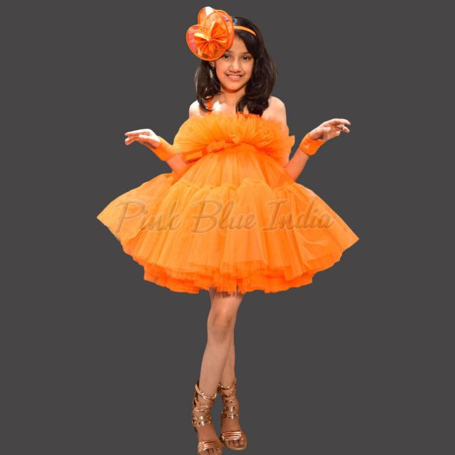 Candy Orange Color Western Baby Girl Dress