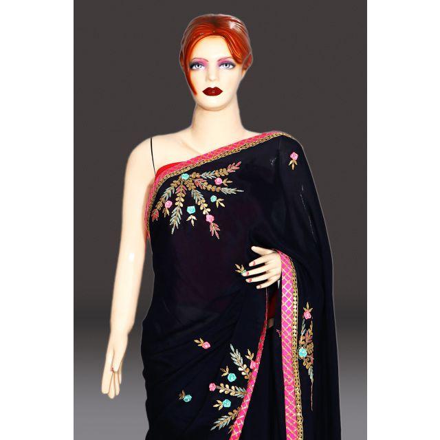 Blue Designer Rajasthani traditional Wedding Saree India