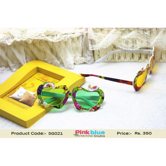 Children Girls and Boys Fashion Sunglasses Flowers Green Frames