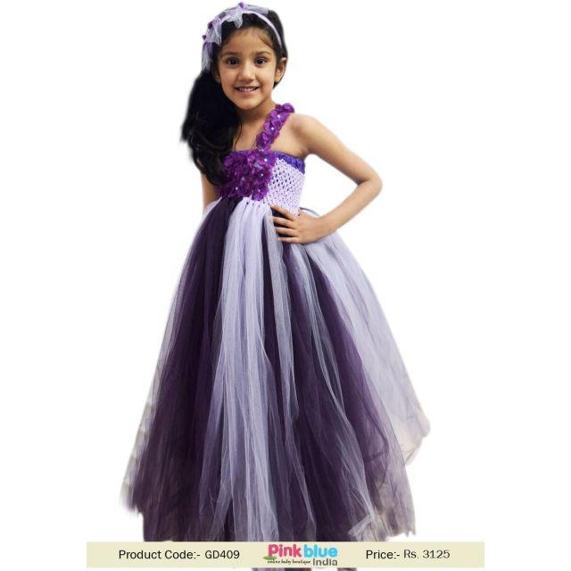 Princess Purple Flower Girl Crochet Tutu Dress