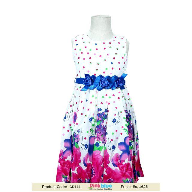 summer colorful flower baby-girl dress