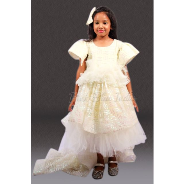 Baby Girl Tail Gown, Kids Couture Birthday Dress