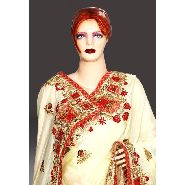 Cream Color Indian Bridal Saree Online, latest Designer Bridal Sarees Collection
