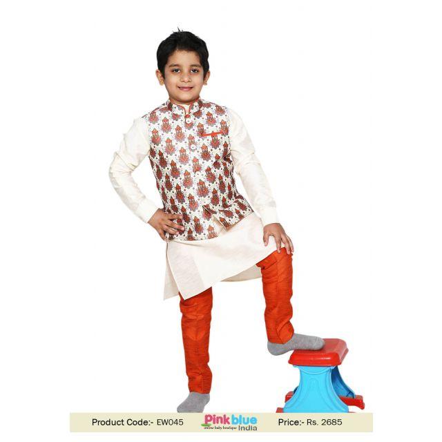 Little Boy Designer Kurta Pant Cut Pajama, Jacket, Kids Indian Wedding dress