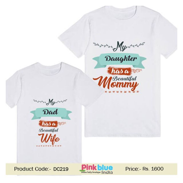 Beautiful Mommy and Wife Custom Dad and Daughter Matching T-shirt