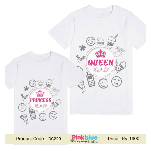 Custom Princess Queen Design Matching Mom and Daughter T-shirt