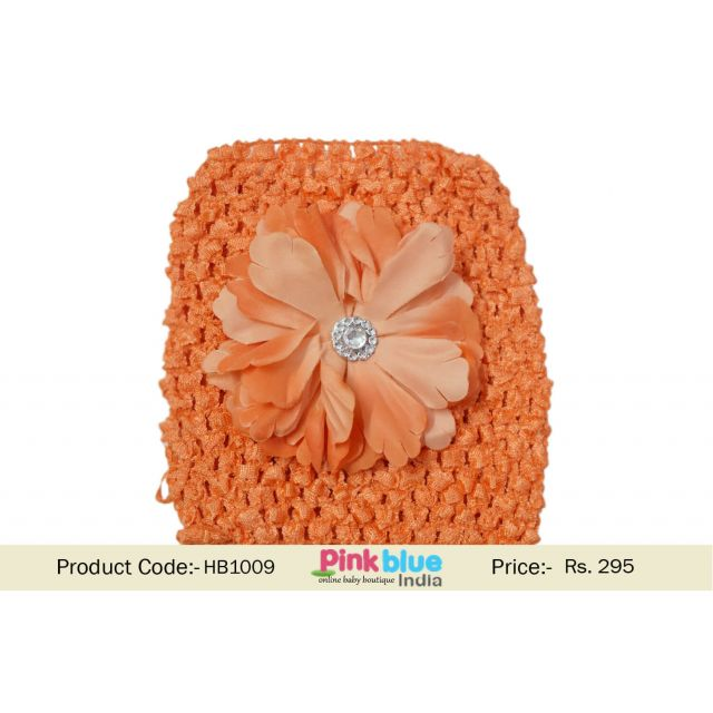 Stretchable Orange Floral Crochet Hair Band for Toddlers