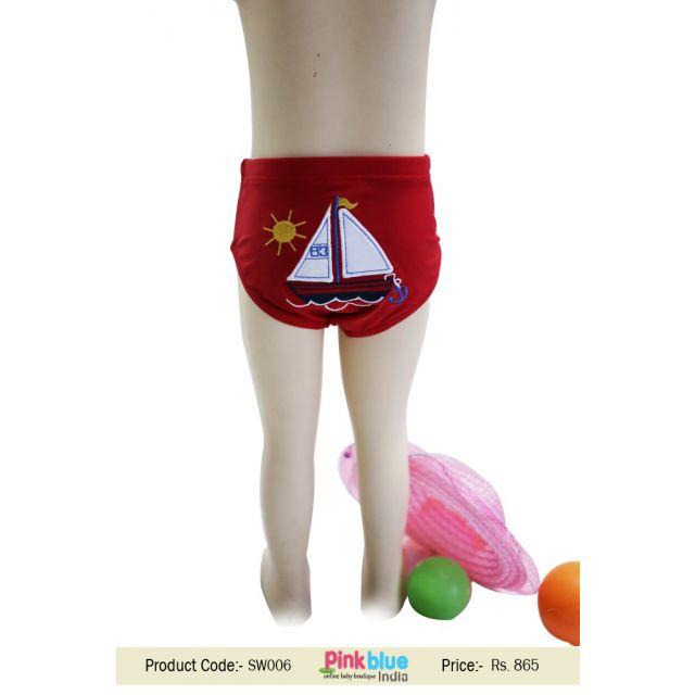 Kids Red Summer Swimming Trunks Boys Swim Shorts