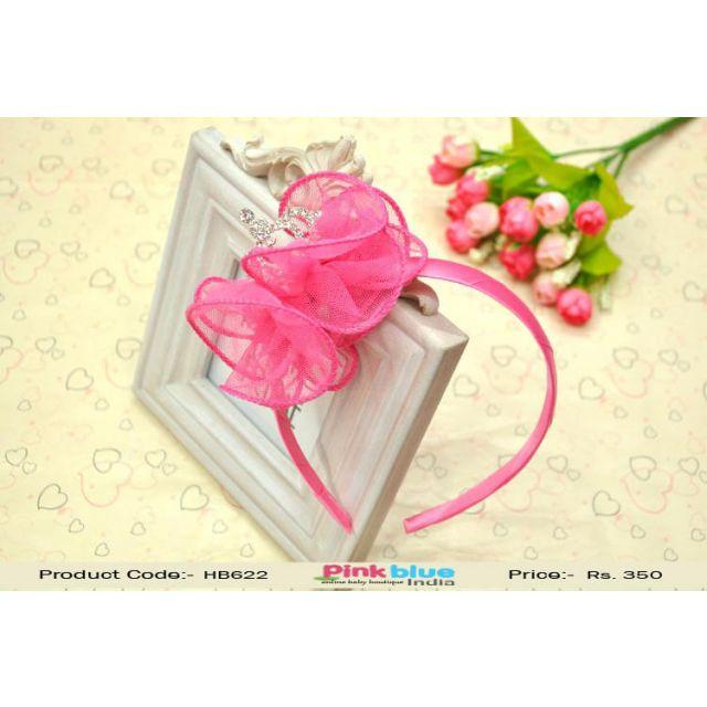 Rose Pink Tiara Crown Hair Band for Infant Baby Girls