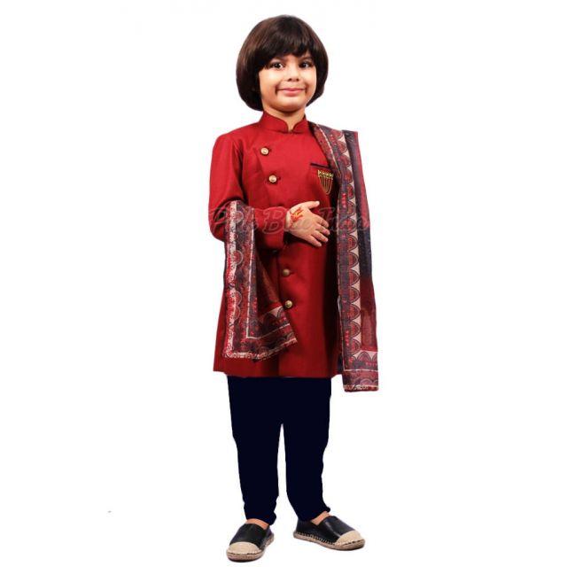 Kids Royal Maroon Sherwani - Baby Boy Designer Sherwani online