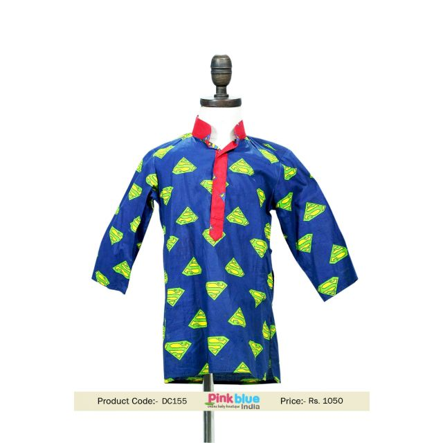 Kids Designer Kurta with Superman Design