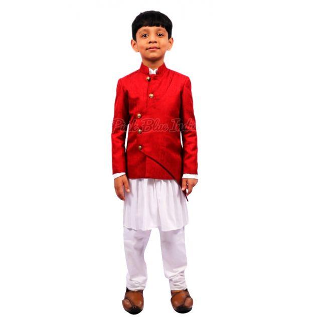 Cross Button Boys Kurta Pajama, Designer Indian Kids Wear