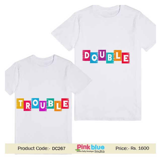Custom Message Print Half Sleeve T-Shirt Double Trouble